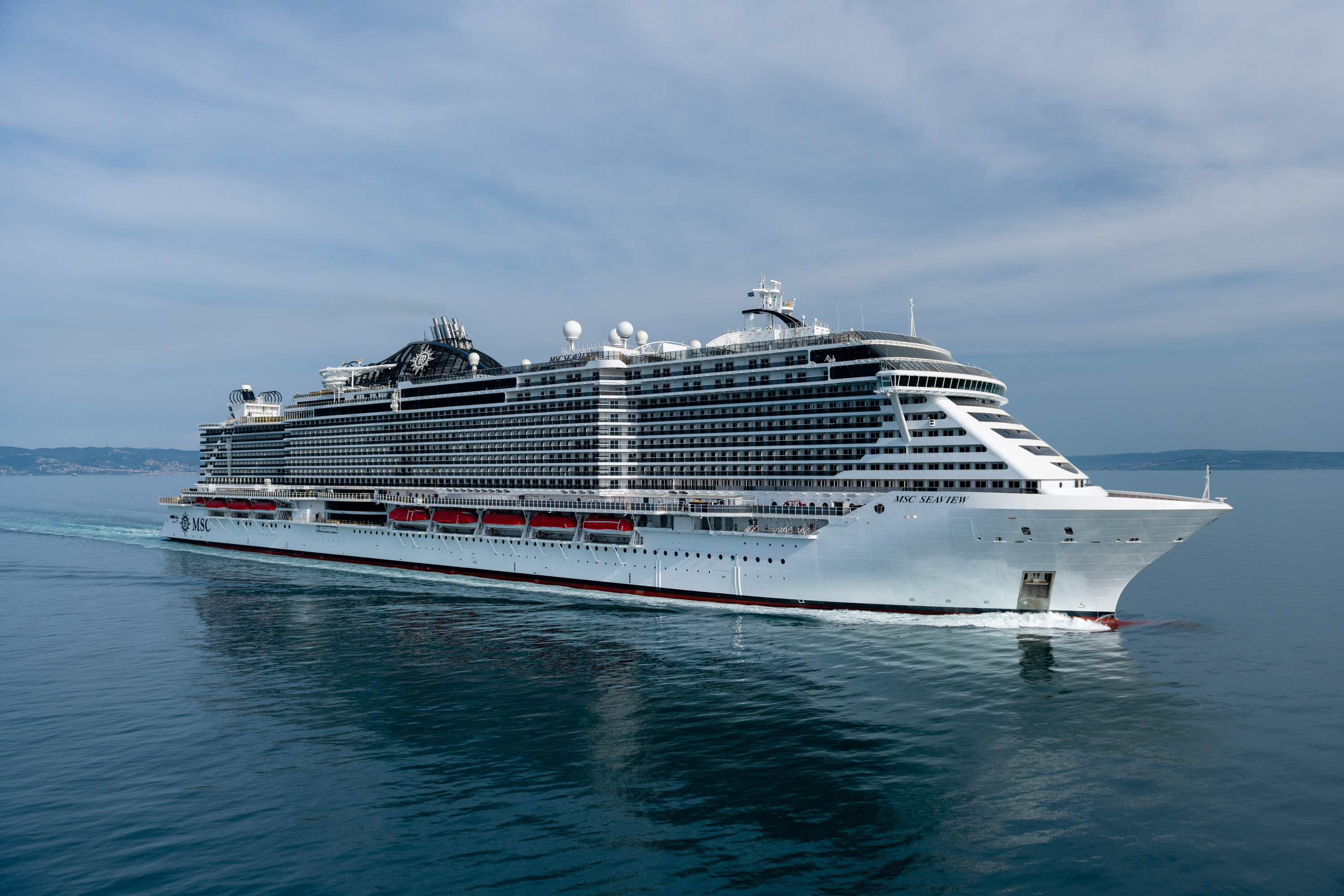 MSC Seaview in the Mediterranean during sea trials