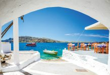 The old harbor of Ammoudi under the famous village of Oia at Santorini, Greece