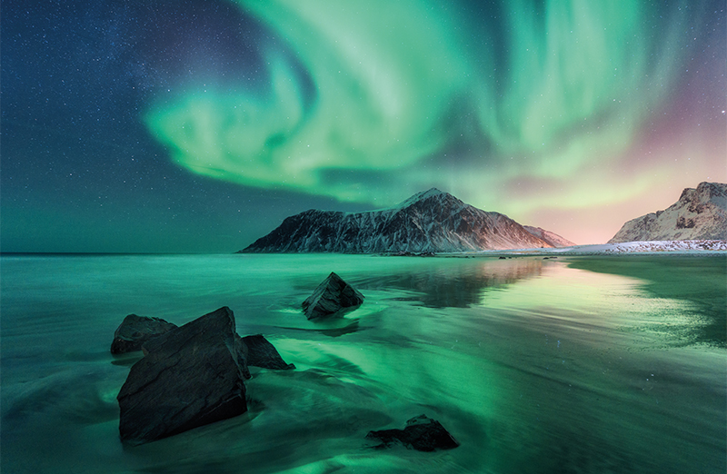 The Northern lights in the Lofoten Islands, Norway