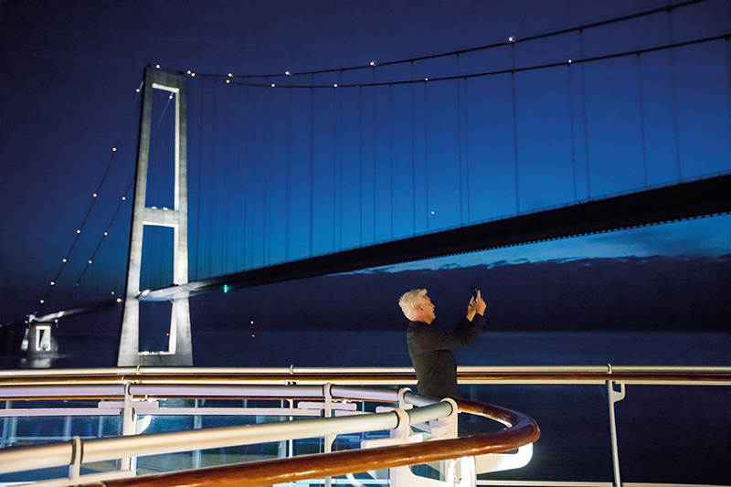Phillip Schofield admiring the Øresund Bridge from on board Regal Princess