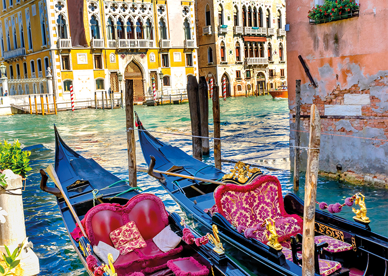 Colourful Gondolas along the Grand Canal, Venice
