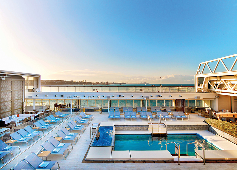 Viking Star Main Pool area during the day with the retractable roof open