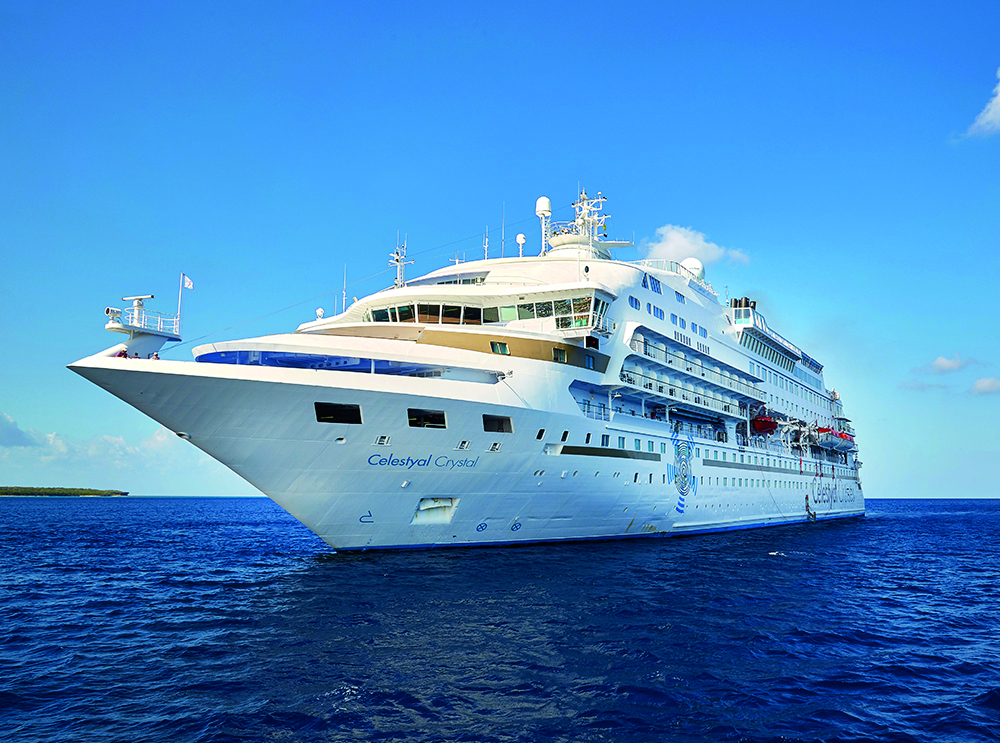 Celestyal's Crystal anchored in Greece on a Greek Island cruise