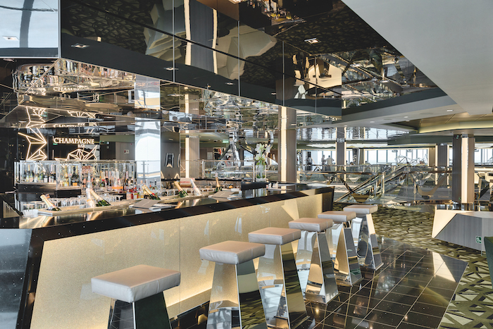 The mirrored Champagne Bar with stools lining the bar on board MSC Bellissima