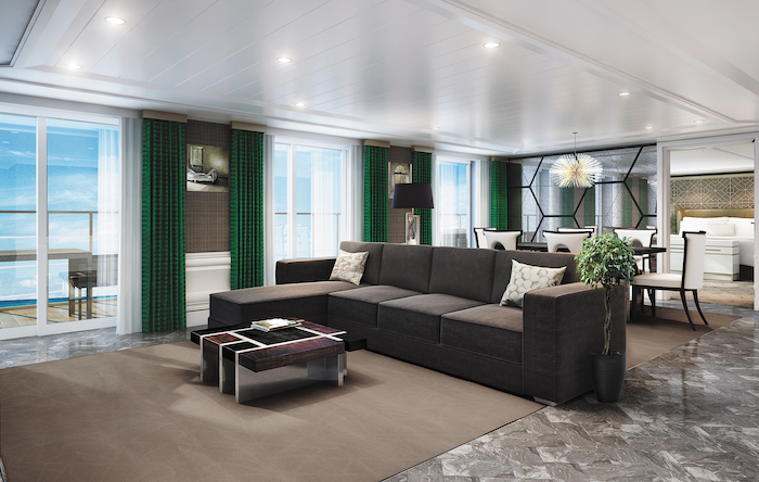 The living room in the Grand Suite on board Seven Seas Splendor