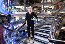 Holly Willoughby poses on the Crystal staircase on board MSC Bellissima