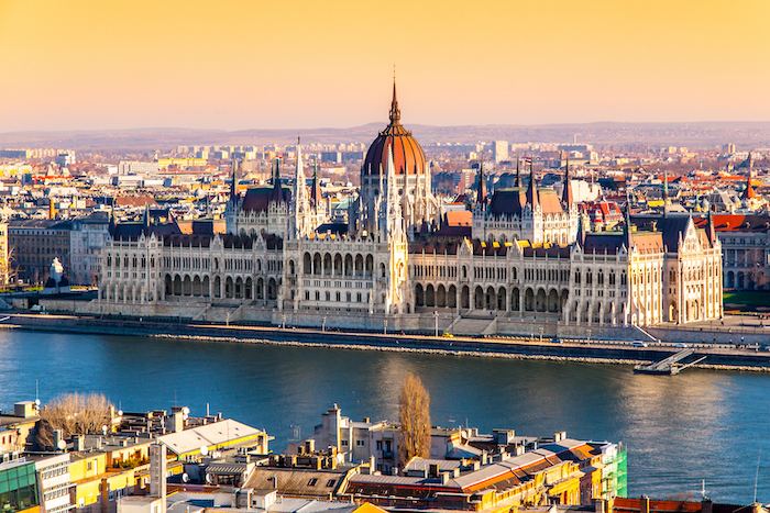Hungarian Parliament, aka Orszaghaz, historical building on Danube riverbank in Hungary