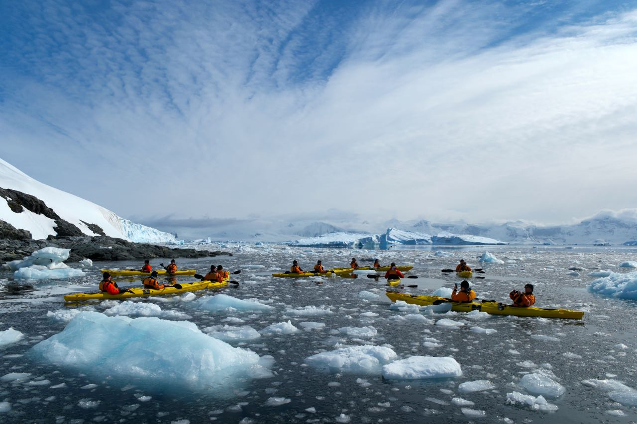 Kayaking in Antarctica while on a Seabourn Venture cruise