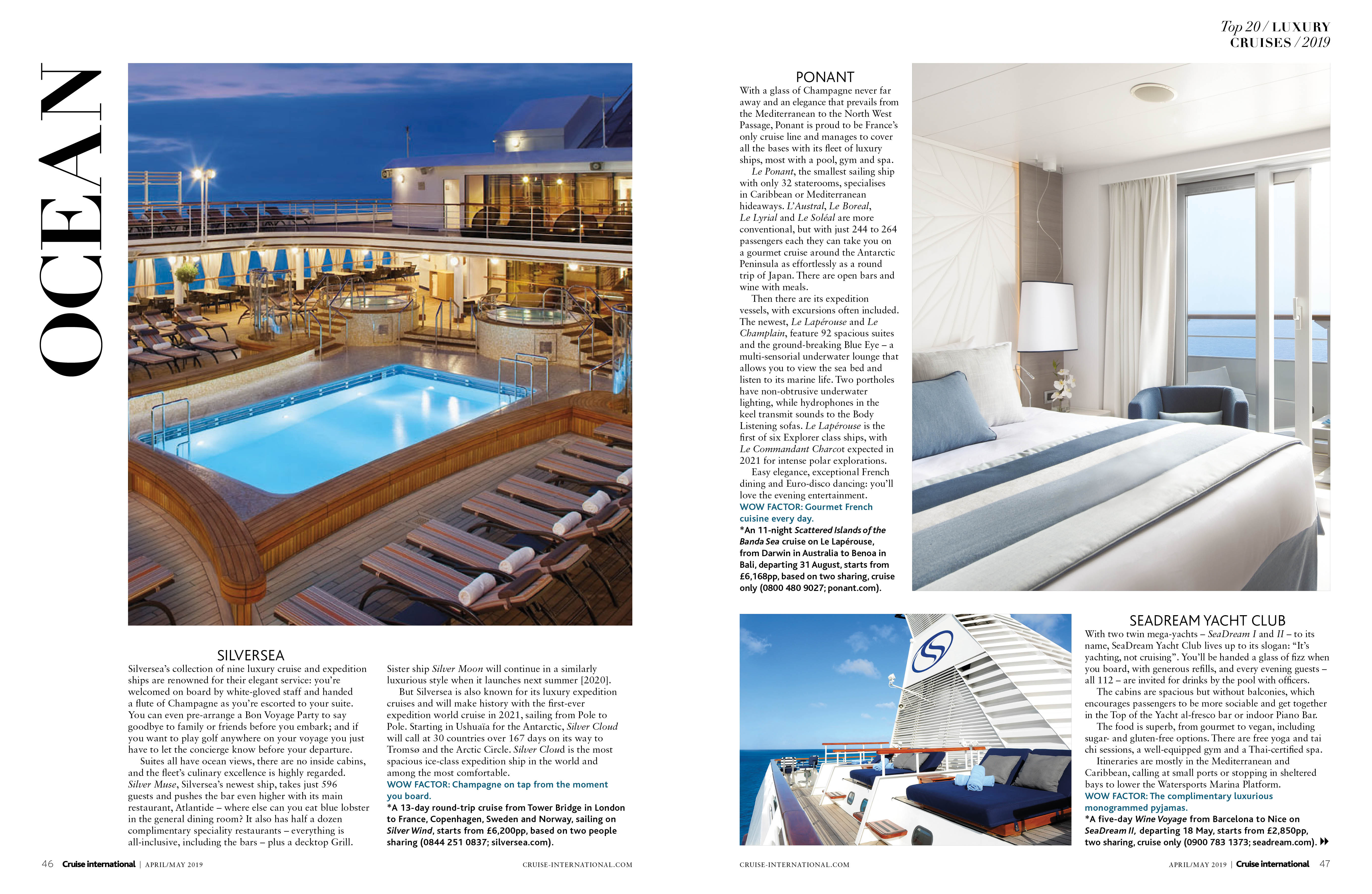 Luxury cruises in April May issue of Cruise International
