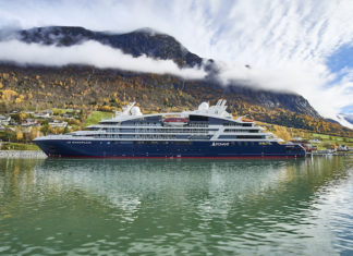 Brand new Le Champlain from Ponant cruising near Bergen, Norway