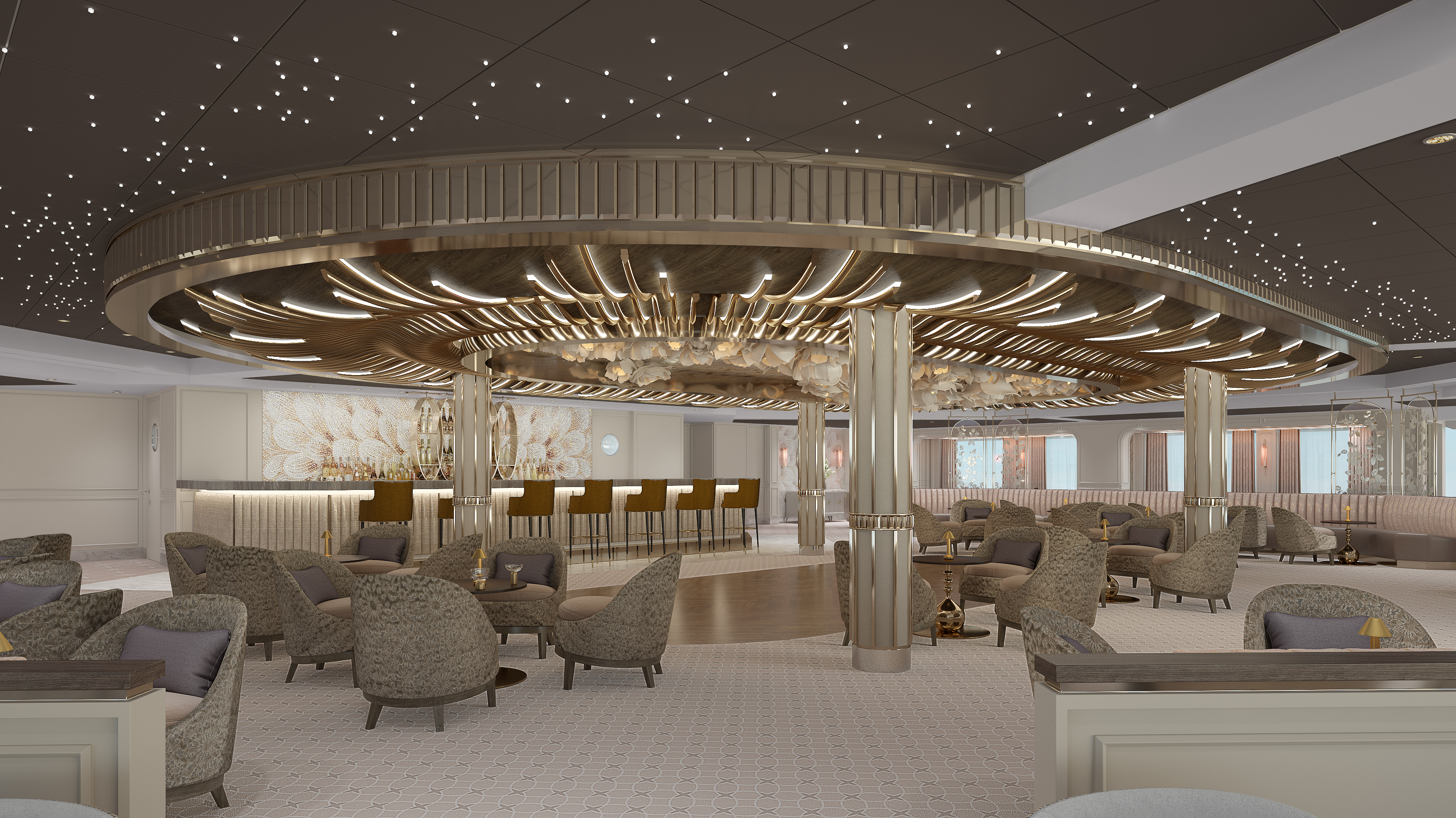 Observation Lounge inspired by an English garden on board Seven Seas Splendor