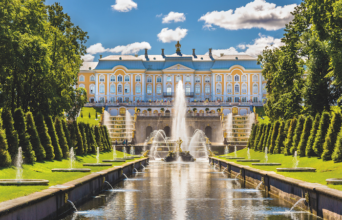 View of the Peterhof Grand Palace in St Petersburg, Russia