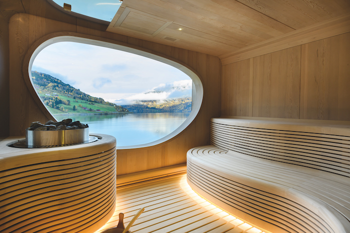 sea views are seen through the window of the Wellness Centre's sauna on board Le Champlain