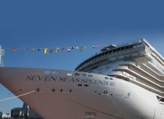Seven Seas Splendor with bunting