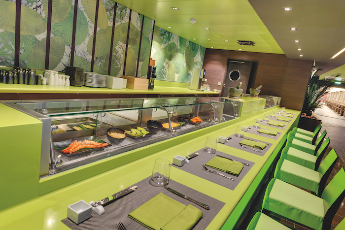 lime green Kaito Sushi Bar on board MSC Bellissima