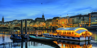 Basel on the Rhine River lit up at Christmas
