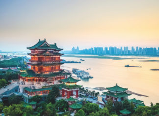 One of the Four Great Towers of China, the Pavilion of Prince Teng in the north-west of Nanchang, overlooking the great Yangtze.