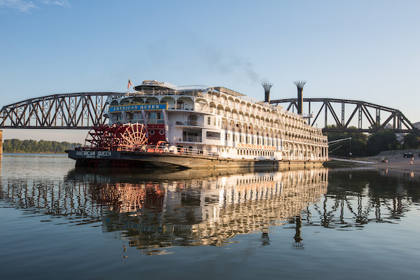 American Queen at anchor while on one of the best luxury river cruises in 2019