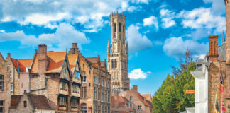 Perez de Malvenda mansion and the Belfort van Brugge as seen on a Belgium and Holland cruise
