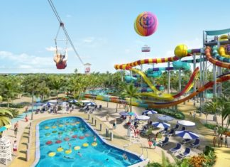 CocoCay water park with slides, swimming pool and biplane