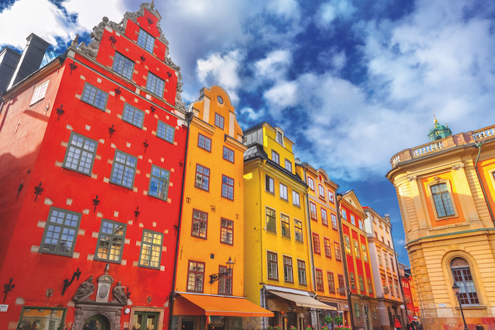 Houses in Gamla Stan, Stockholm, visited during no-fly cruises with Saga