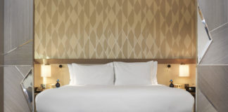 bed in room at Hilton London Heathrow Airport