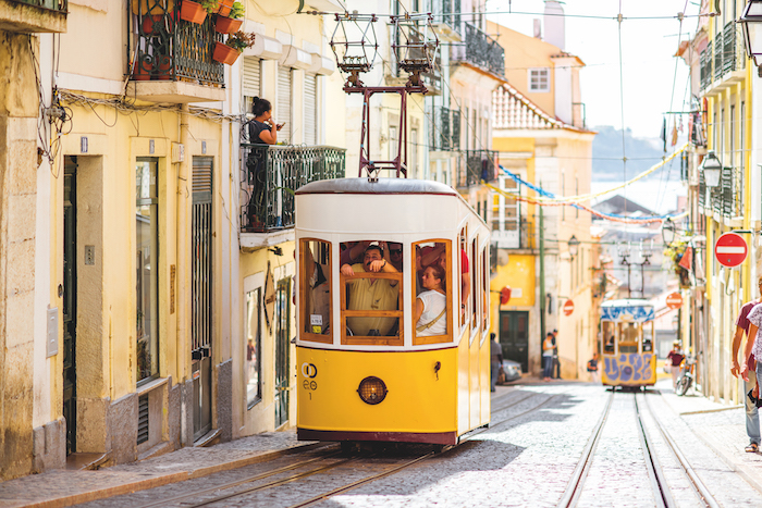 Yellow funicular in Lisbon takes guests on no-fly cruises up to the city's finest viewpoints