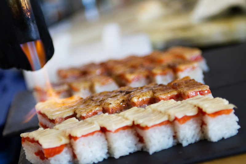 flame-grilled sushi in Miku Restaurant in Vancouver
