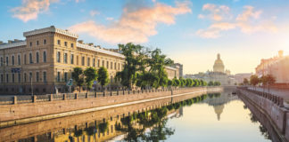 Historic buildings line the River Moyka in St Petersburg as seen on a no-fly cruise with Saga