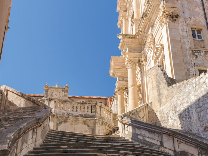 Baroque stairs leading up to St Ignatius Church can be seen on Game of Thrones cruises