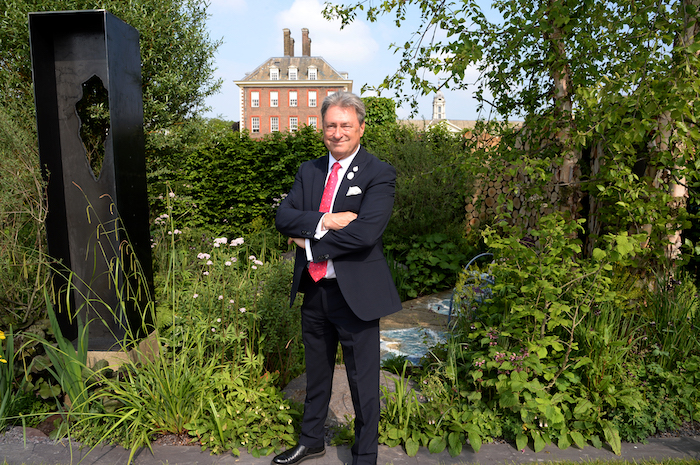 Alan Titchmarsh at Art of the Viking garden at the RHS Chelsea Flower Show