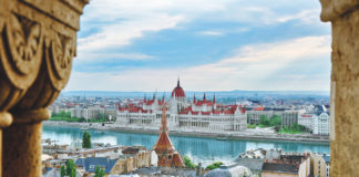 Hungarian Parliament Building on the banks of the River Danube