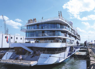 The aft section of Celebrity Flora at anchor in Rotterdam during its unveiling