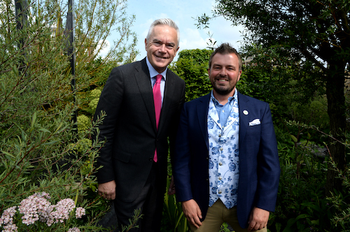 Huw Edwards and Paul Hervey-Brookes the Art of Viking garden at RHS Chelsea Flower Show