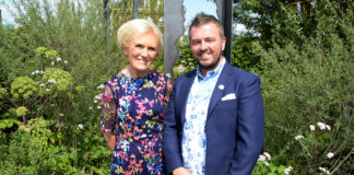 Mary Berry and Paul Hervey-Brookes at award-winning 'The Art of Viking' garden