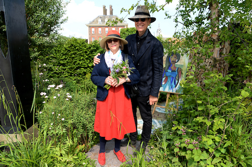 Joan Washington and Richard E. Grant at Art of the Viking garden