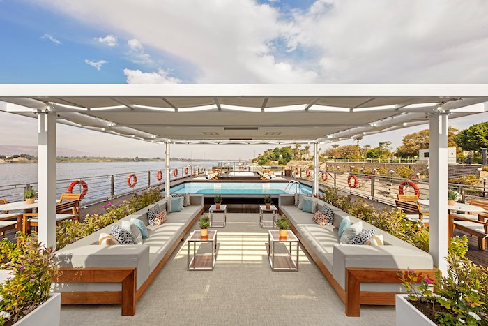 Pool deck on Viking Ra river cruise tips