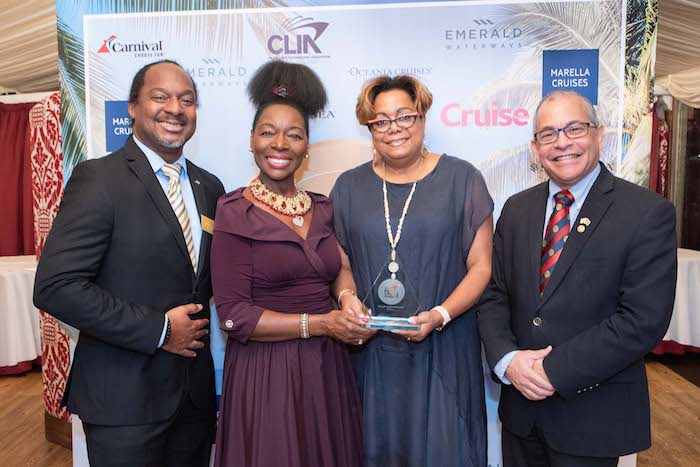 Floella Benjamin with High Commissioner of Barbados His Excellency Milton Inniss (far right) and Marc McCollin and Cheryl Carter from Barbados Tourism Marketing