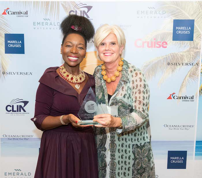Baroness Floella Benjamin and Lynn Narraway, winner of the Outstanding Contribution to the Cruise Industry